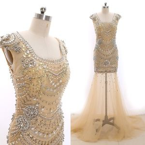 Mermaid Crystals Nude Pageant Prom Gown Evening